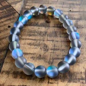 8mm Gray Mystic Glass Bead Stretch Bracelet